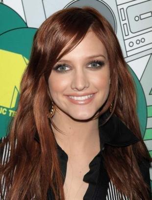 Золотисто каштановый цвет волос на длинные волосы, шоколадно-рыжий цвет волос