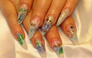 Нарощенные ногти, новогоднее оформление гелевых ногтей