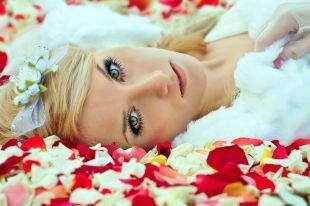 Свадебный макияж с нарощенными ресницами, свадебный макияж для зеленоглазых блондинок