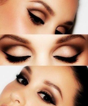 Вечерний макияж под черное платье, макияж на выпускной для брюнеток с карими глазами