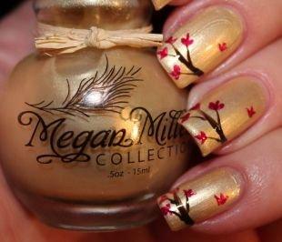 Рисунки с листьями на ногтях, рисунок осенних веток на ногтях