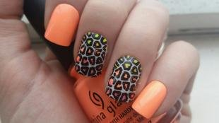 Коралловый маникюр, леопардовый дизайн ногтей