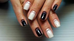 Черно-белый дизайн ногтей, черно-белый маникюр шеллаком