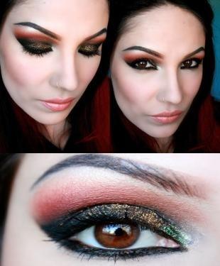 Восточный макияж для карих глаз, новогодний макияж под леопардовое платье