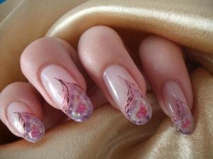 Аквариумный дизайн ногтей, дизайн нарощенных ногтей с цветочным рисунком