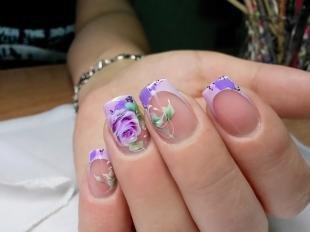 Дизайн ногтей френч, нежный френч с розой
