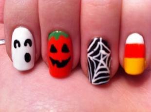 Рисунки паука на ногтях, маникюр на хэллоуин с паутиной