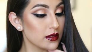 Макияж для тёмно зелёных глаз и тёмных волос, арабский макияж с красной помадой