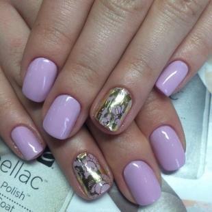 Рисунки золотом на ногтях, маникюр шеллак на короткие ногти