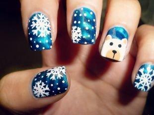 Маникюр на Новый год, маникюр на новый год с мишкой и снежинками