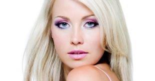 Макияж под фиолетовое платье, красивый яркий макияж для голубых глаз