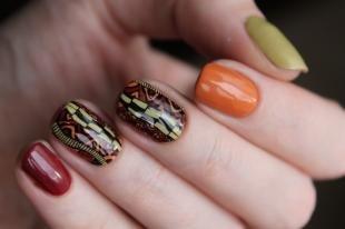 """Коралловые ногти с рисунком, дизайн ногтей """"осеннее настроение"""""""