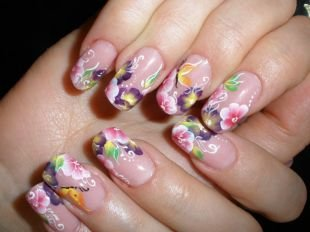 """Китайские рисунки на ногтях, китайская роспись на нарощенных ногтях """"нежная роза"""""""