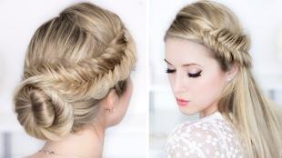 Цвет волос холодный блонд, красивые прически на длинные волосы