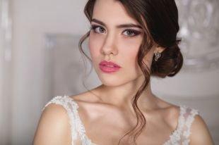 Свадебные прически на длинные волосы, свадебная прическа на длинные волосы-пучок и свободные локоны