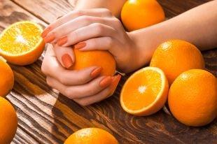 Оранжевый маникюр, оранжевый маникюр с шиммерным лаком