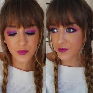 Яркий макияж для голубых глаз, яркий фиолетовый макияж на фотосессию