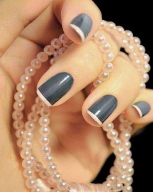 Черно-белый френч, черный френч на короткие ногти