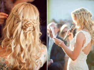 Прически с плетением на выпускной на длинные волосы, прическа с косами на выпускной - французский водопад