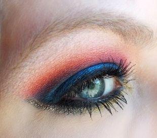 Вечерний макияж для нависшего века, многоцветный макияж для серо-голубых глаз