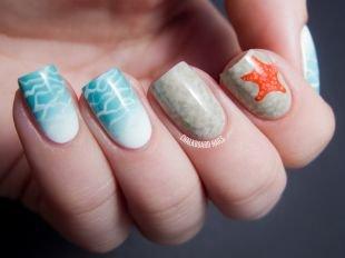 Необычные рисунки на ногтях, маникюр с морской звездой