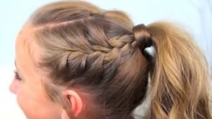Прически для девочек на длинные волосы, прическа в школу - конский хвост и французская коса