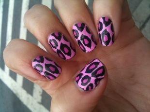 Рисунки на ногтях зубочисткой, розовый леопард