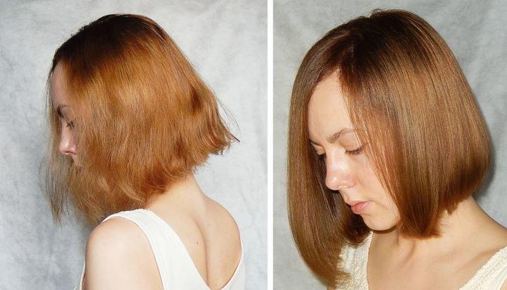 Экранирование волос - до и после